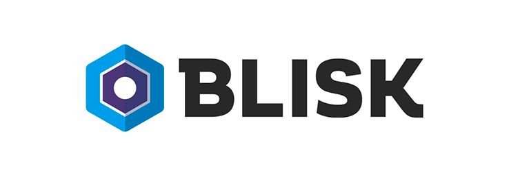 Blisk logo with text dark background white