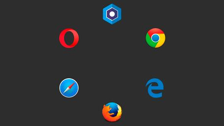 Blisk logo with other browsers background dark octagonal